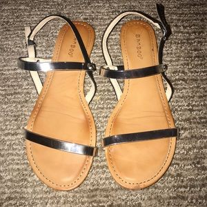 Barely worn / reflective silver sandals / boutique